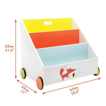 Load image into Gallery viewer, Amazon best labebe kid bookshelf wood small book storage for 1 5 year old 3 shelf bookcase for bedroom book display case white for girl boy 3 tier mobile bookrack with wheels low square book cabinet fox
