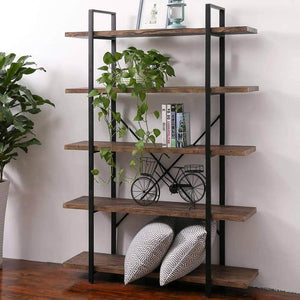 Exclusive superjare 5 shelf industrial bookshelf open etagere bookcase with metal frame rustic book shelf storage display shelves wood grain vintage