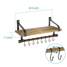 Load image into Gallery viewer, Save love kankei floating shelf wall shelf for storage rustic wood kitchen spice rack with towel bar and 8 removable hooks for organize cooking utensils or mugs carbonized black