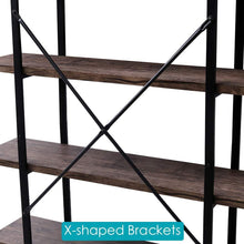 Load image into Gallery viewer, Get superjare 5 shelf industrial bookshelf open etagere bookcase with metal frame rustic book shelf storage display shelves wood grain vintage