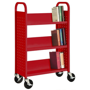Results sandusky sl327 01 red heavy duty welded steel single sided sloped shelf book truck 3 shelves 200 lb capacity 46 height x 28 width x 14 depth