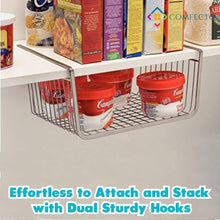 Load image into Gallery viewer, Exclusive 2pcs 15 8 inchunder cabinet storage shelf wire basket organizer for cabinet thickness max 1 2 inch extra storage space on kitchen counter pantry desk bookshelf cupboard anti rust stainless steel rack