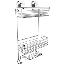 Load image into Gallery viewer, Discover vidan home solutions shower caddy dual installation hanging or mounted rustproof multi shelf basket shower organizer includes soap dish and hooks for razor towels shampoo and conditioner