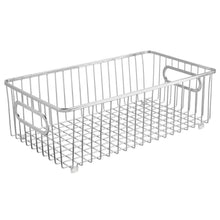 Load image into Gallery viewer, The best mdesign metal farmhouse kitchen pantry food storage organizer basket bin wire grid design for cabinet cupboard shelf countertop holds potatoes onions fruit large 4 pack chrome
