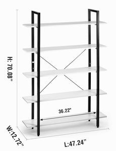 Cheap oraf bookshelf 5 tier 47lx13wx70h inches bookcase solid 130lbs load capacity industrial bookshelf sturdy bookshelves with steel frame assemble easily storage organizer home office shelf modern white