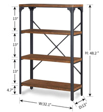 Load image into Gallery viewer, Order now homissue 4 shelf vintage style bookshelf industrial open metal bookcases furniture etagere bookcase for living room office brown 48 2 inch height