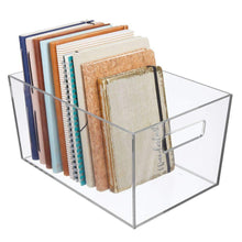 Load image into Gallery viewer, Top rated mdesign plastic storage bin with handles for office desk book shelf filing cabinet organizer for sticky notes pens notepads pencils supplies 12 long 6 pack clear