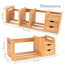 Load image into Gallery viewer, Featured bamboo wood expandable desk organizer desktop tabletop organic wooden filing organization bookshelf w storage drawer for book home office file paper supplies cookbook serenelife sldcab180
