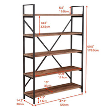 Load image into Gallery viewer, Home care royal vintage 5 tier open back storage bookshelf industrial 69 5 inches h bookcase decor display shelf living room home office natural solid reclaimed wood sturdy rustic brown metal frame