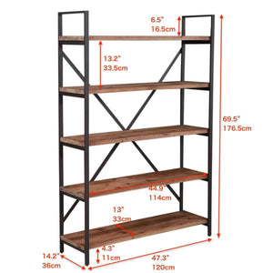 Home care royal vintage 5 tier open back storage bookshelf industrial 69 5 inches h bookcase decor display shelf living room home office natural solid reclaimed wood sturdy rustic brown metal frame