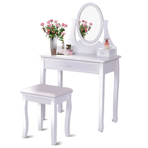 Giantex Vanity Table Set with 360° Rotating Round Mirror, Makeup Mirrored Dressing Table with Cushioned Stool & 3 Drawers, Bedroom Vanities for Women Girls, Detachable Mirror Stand to be a Desk, white
