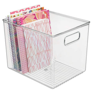 Save mdesign plastic storage bin with handles for office desk book shelf filing cabinet organizer for sticky notes pens notepads pencils supplies bpa free 10 long 4 pack clear