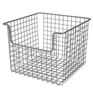 Buy now mdesign metal wire open front organizer basket for kitchen pantry cabinet shelf holds canned goods baking supplies boxed food mixes fruits vegetables snacks 10 wide 4 pack graphite gray