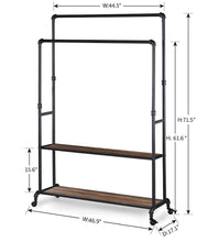 Load image into Gallery viewer, Buy now homissue 72 inch industrial pipe double rail hall tree with shoe storage on wheel 2 shelf rolling clothes rack organizer with 2 hanging rod for garment storage display vintage brown