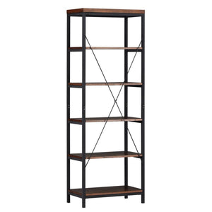 Kitchen modhaus living industrial rustic style black metal frame 6 tier 26 inches horizontal bookshelf storage media tower dark brown finish living room decor includes pen 26 inches wide