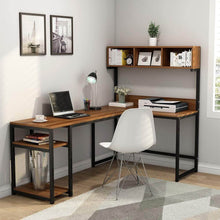 Load image into Gallery viewer, Featured tribesigns l shaped desk with hutch 68 corner computer desk gaming table workstation with storage bookshelf for home office dark walnut