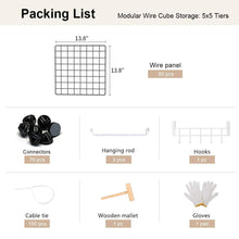 Load image into Gallery viewer, Save on yozo modular wire cube storage wardrobe closet organizer metal rack book shelf multifuncation shelving unit 25 cubes depth 14 inches black