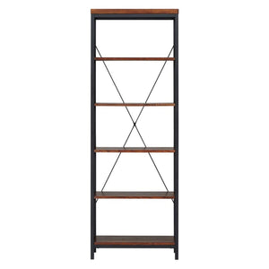 Home modhaus living industrial rustic style black metal frame 6 tier 26 inches horizontal bookshelf storage media tower dark brown finish living room decor includes pen 26 inches wide