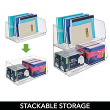 Load image into Gallery viewer, Save on mdesign stackable plastic storage organizer bin basket for desk book shelf filing cabinet container for office supplies sticky notes pens pencils 15 wide 4 pack clear