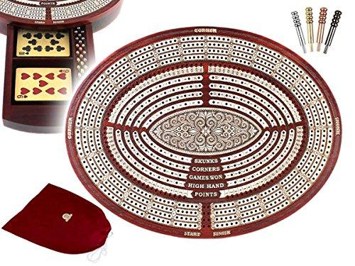 11.6 Oval Shape 4 Tracks Continuous Cribbage Board / Box Bloodwood / Maple + Score Marking Fields For Skunks, Corners, Won Games, High Hand & Points