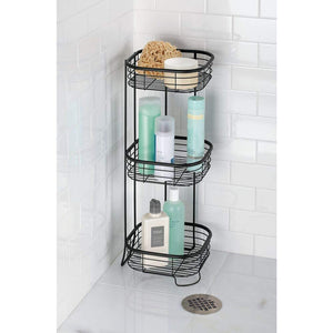 Kitchen mdesign square metal bathroom shelf unit free standing vertical storage for organizing and storing hand towels body lotion facial tissues bath salts 3 shelves steel wire matte black
