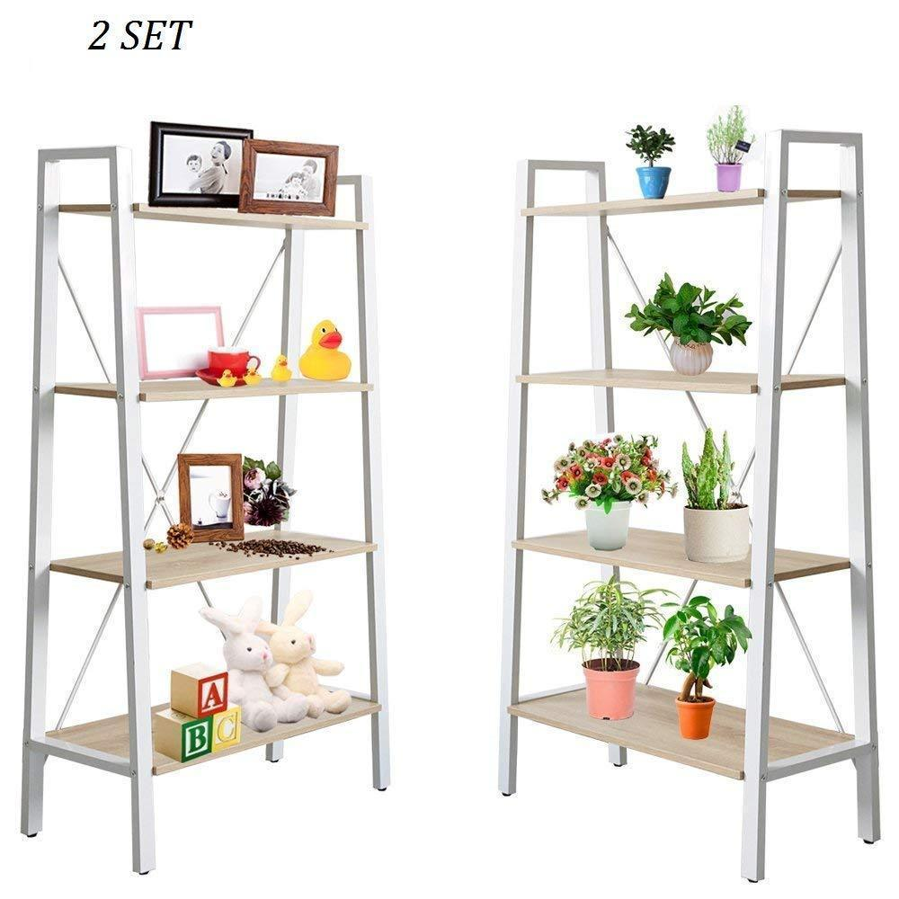 Order now dporticus 2 set 4 tier modern ladder bookshelf free standing open bookcase storage shelf units display stand oak white 31 4 l x13 w x52 5 h
