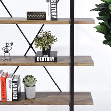 Load image into Gallery viewer, Storage organizer framodo 5 shelf open vintage industrial bookshelf rustic wood and metal 5 tier bookcase for home office organizer and display shelves