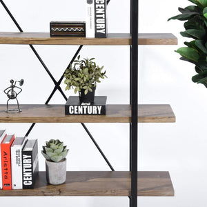 Storage organizer framodo 5 shelf open vintage industrial bookshelf rustic wood and metal 5 tier bookcase for home office organizer and display shelves