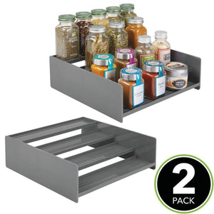 Purchase mdesign plastic kitchen spice bottle rack holder food storage organizer for cabinet cupboard pantry shelf holds spices mason jars baking supplies canned food 4 levels 2 pack charcoal gray
