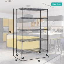 Load image into Gallery viewer, Organize with 5 wire shelving unit steel large metal shelf organizer garage storage shelves heavy duty nsf certified commercial grade height adjustable rack 5000 lbs capacity on 4 wheels 24d x 48w x 76h black