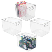 Load image into Gallery viewer, Related mdesign plastic storage bin with handles for office desk book shelf filing cabinet organizer for sticky notes pens notepads pencils supplies bpa free 10 long 4 pack clear