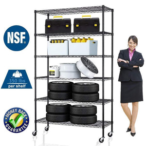 Discover the best 6 tier storage shelves metal wire shelving unit height adjustable nsf heavy duty garage shelving with wheels 48x18x82 commercial grade utility shelf rack for restaurant basement garage kitchen