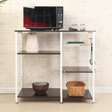 Load image into Gallery viewer, Featured mixcept multi purpose 3 tier kitchen bakers rack utility microwave oven stand storage cart workstation shelf w5s bk mi black