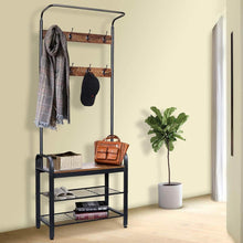 Load image into Gallery viewer, Products zncmrr entryway hall tree with shoe bench rustic coat rack industrial entryway furniture organizer with 8 double hooks and storage shelf for hallway bedroom living room easy assembly