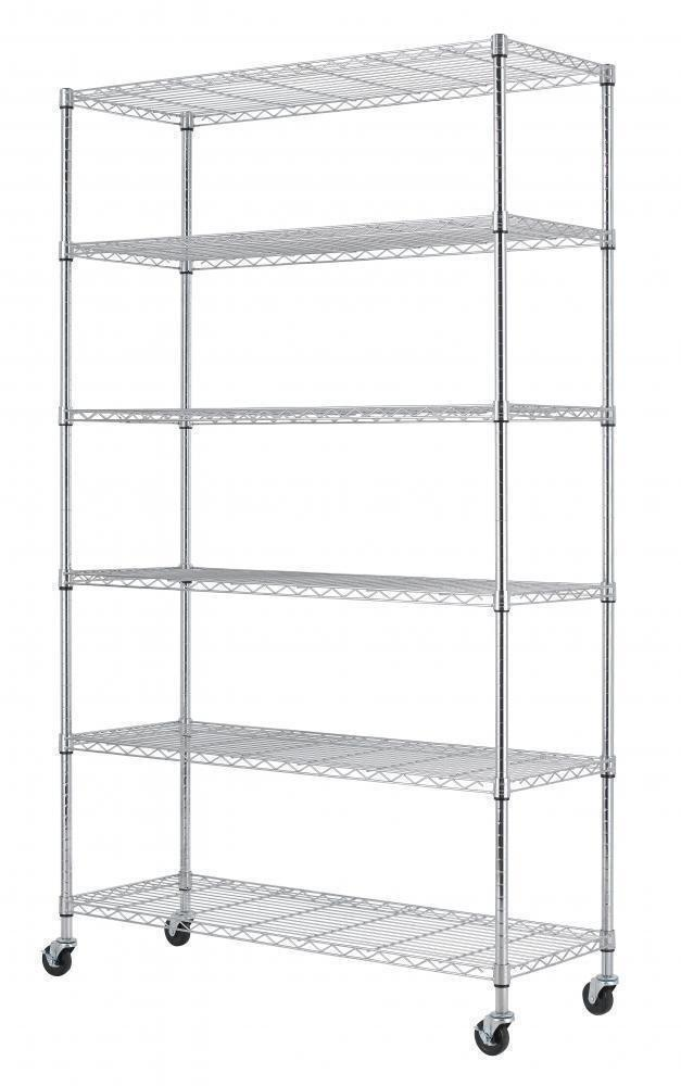 Discover home it 6 shelf commercial adjustable steel shelving systems on wheels wire shelves shelving unit or garage shelving storage racks