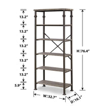 Load image into Gallery viewer, Online shopping hombazaar 6 tier tall bookshelf vintage industrial metal bookcase display rack and storage organizer for living room grey oak