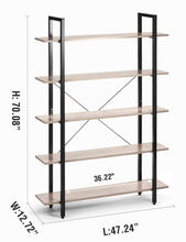 Load image into Gallery viewer, Budget oraf bookshelf 5 tier 47lx13wx70h inches bookcase solid 130lbs load capacity industrial bookshelf sturdy bookshelves with steel frame assemble easily storage organizer home office shelf wood grain