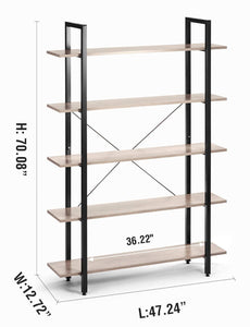 Budget oraf bookshelf 5 tier 47lx13wx70h inches bookcase solid 130lbs load capacity industrial bookshelf sturdy bookshelves with steel frame assemble easily storage organizer home office shelf wood grain