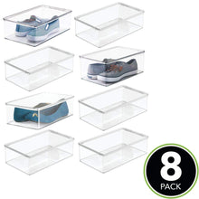 Load image into Gallery viewer, Discover the mdesign stackable plastic closet shelf shoe storage organizer box with lid for mens womens kids sandals flats sneakers 8 pack clear