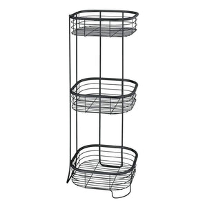 Get mdesign square metal bathroom shelf unit free standing vertical storage for organizing and storing hand towels body lotion facial tissues bath salts 3 shelves steel wire matte black