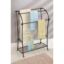 Load image into Gallery viewer, Best seller  mdesign large freestanding towel rack holder with storage shelf 3 tier metal organizer for bath hand towels washcloths bathroom accessories bronze warm brown