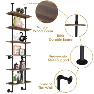 Shop for giantex 6 tier industrial pipe shelves with wood rustic wall shelves vintage pipe wall shelf for bedrooms kitchens coffee shops or bar storage pickles wood grain