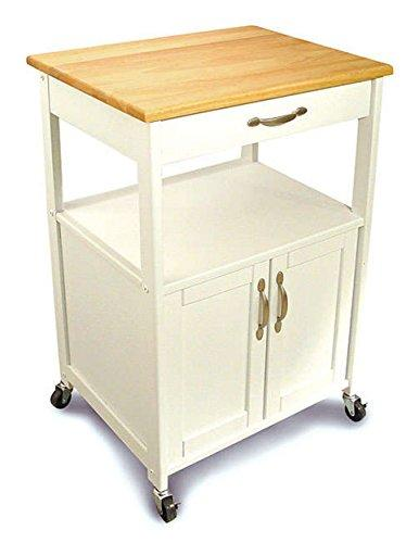 Contemporary White Wood Kitchen Storage Trolley Rolling Cart with Single Storage Drawer and Cabinet