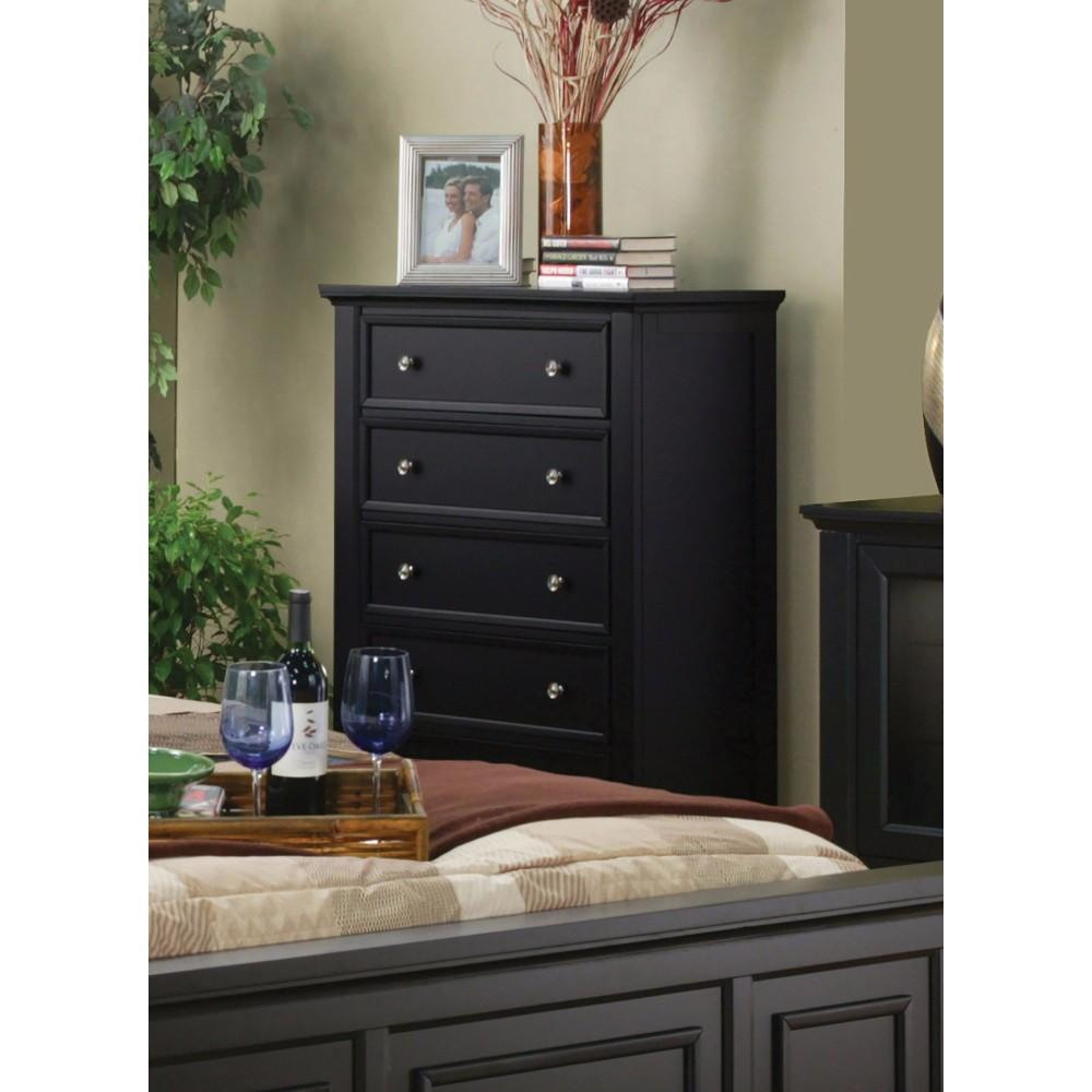 Capacious Wooden Chest With 5 Storage Drawers, Black