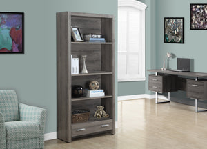 "71""H DARK TAUPE WITH A STORAGE DRAWER BOOKCASE"