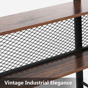 Top tribesigns 5 shelf bookshelf with metal wire vintage industrial bookcase display shelf storage organizer with metal frame for home office 47 2 l x 9 4 d x 71 h retro brown