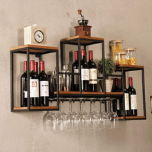 Load image into Gallery viewer, Top industrial wall mounted loft retro iron metal wine rack shelf wine bottle glass rack bar shelf wood holder 12 wine glass storage unit floating shelves wine glass rack for restaurants daily home