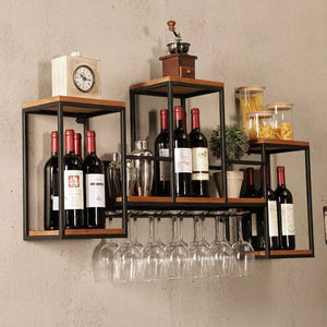 Top industrial wall mounted loft retro iron metal wine rack shelf wine bottle glass rack bar shelf wood holder 12 wine glass storage unit floating shelves wine glass rack for restaurants daily home