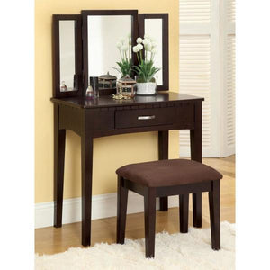 Potterville Espresso Contemporary Style Vanity with 1-Stool, 3-Sided Mirror and 1-Table with 1-Storage Drawer