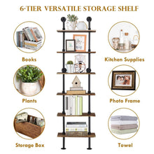 Load image into Gallery viewer, Storage giantex 6 tier industrial pipe shelves with wood rustic wall shelves vintage pipe wall shelf for bedrooms kitchens coffee shops or bar storage pickles wood grain